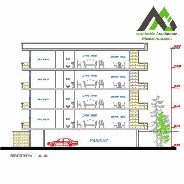 نقشه آپارتمان مسکونی پنج طبقه