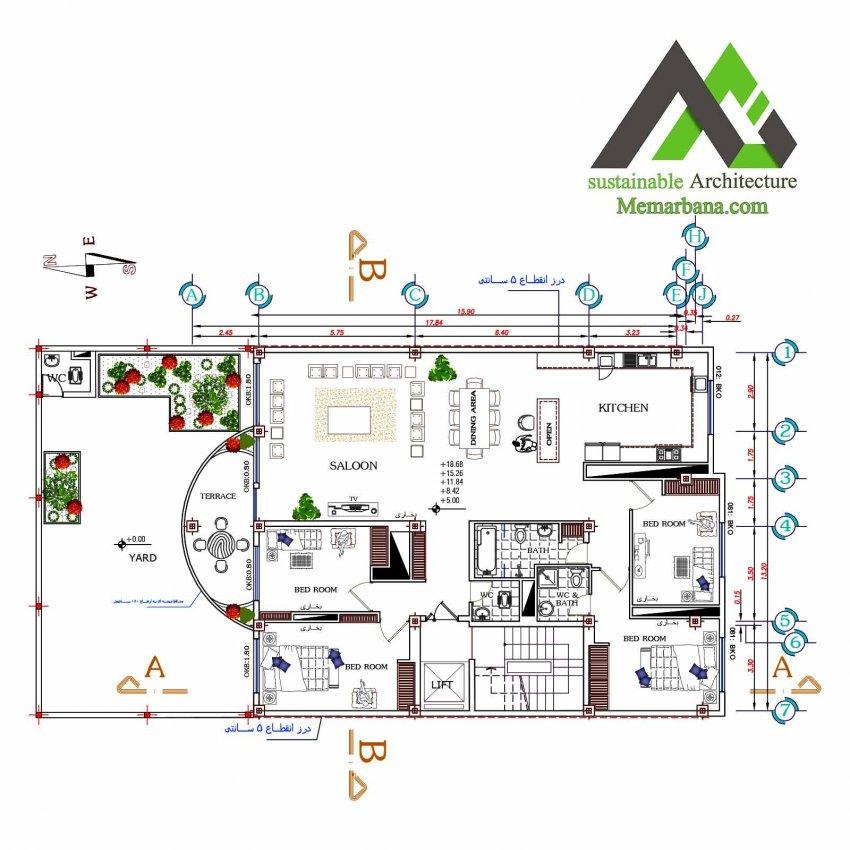 پلان آپارتمان تجاری مسکونی پنج طبقه