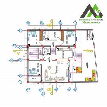 نقشه ساختمان مسکونی دوبلکس