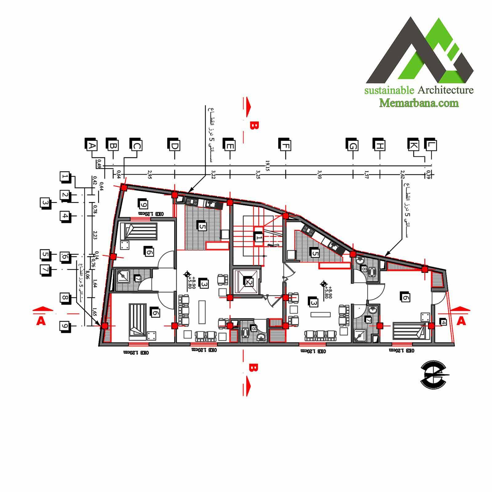 نقشه آپارتمان تجاری مسکونی پنج طبقه
