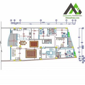 نقشه آپارتمان مسکونی چهار طبقه