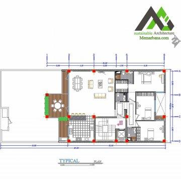 نقشه آپارتمان مسکونی چهارطبقه