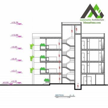 پلان اجرایی مسکونی با عرض 12