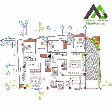 نقشه آپارتمان تجاری مسکونی چهار طبقه