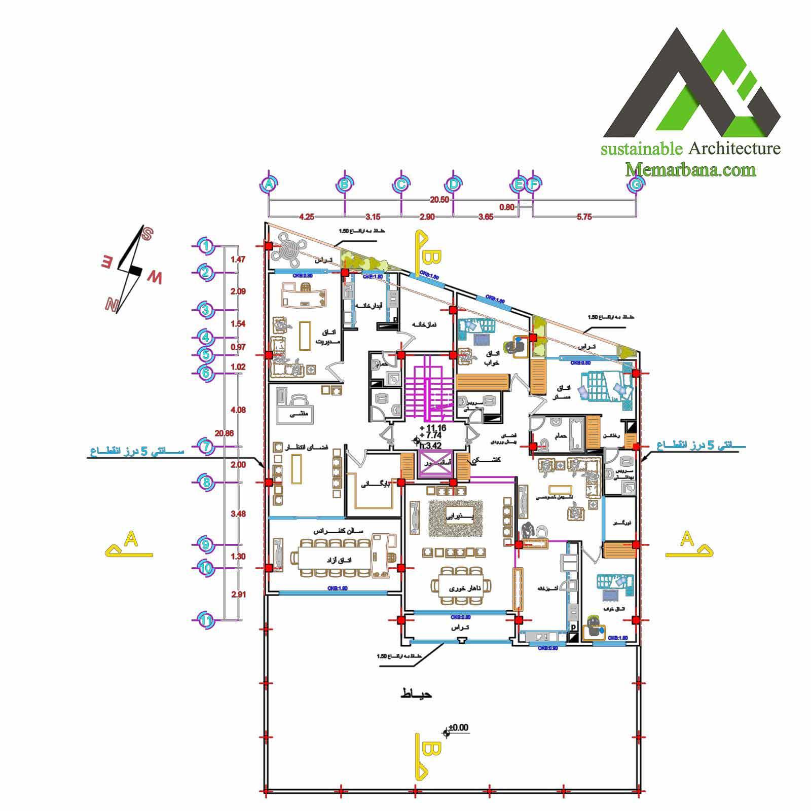 نقشه آپارتمان تجاری اداری مسکونی