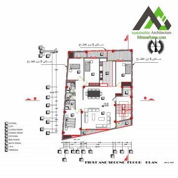 نقشه آپارتمان تجاری مسکونی شش طبقه