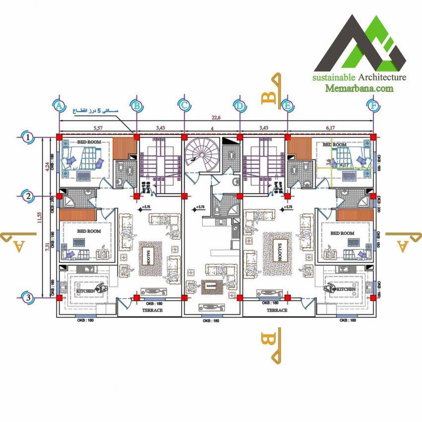 نقشه مجتمع مسکونی تجاری سه طبقه