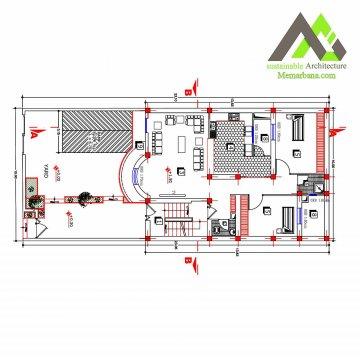 نقشه آپارتمان مسکونی سه طبقه