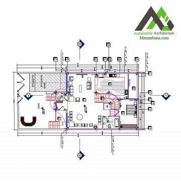 نقشه ساختمان مسکونی سه طبقه