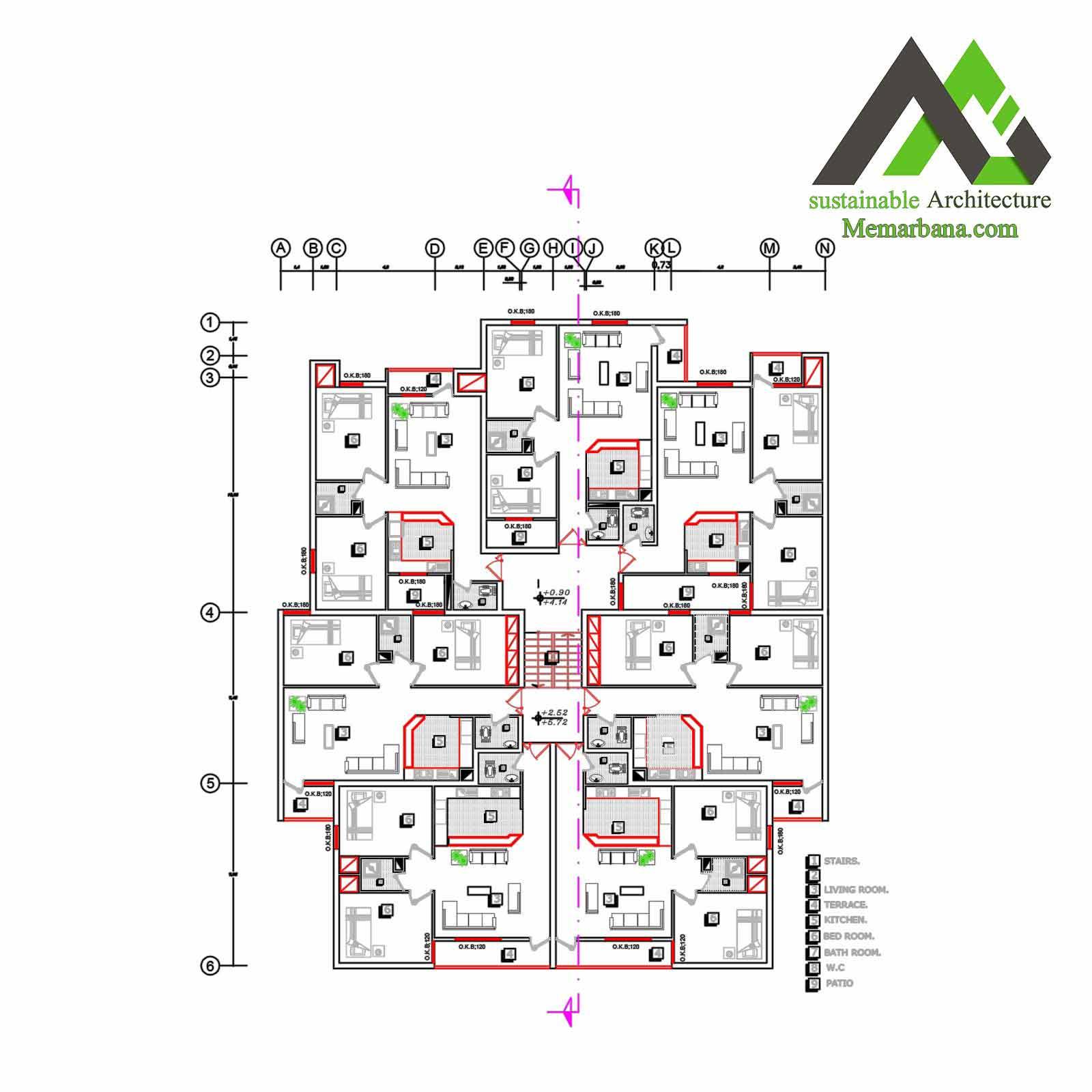 نقشه مجتمع مسکونی سه طبقه