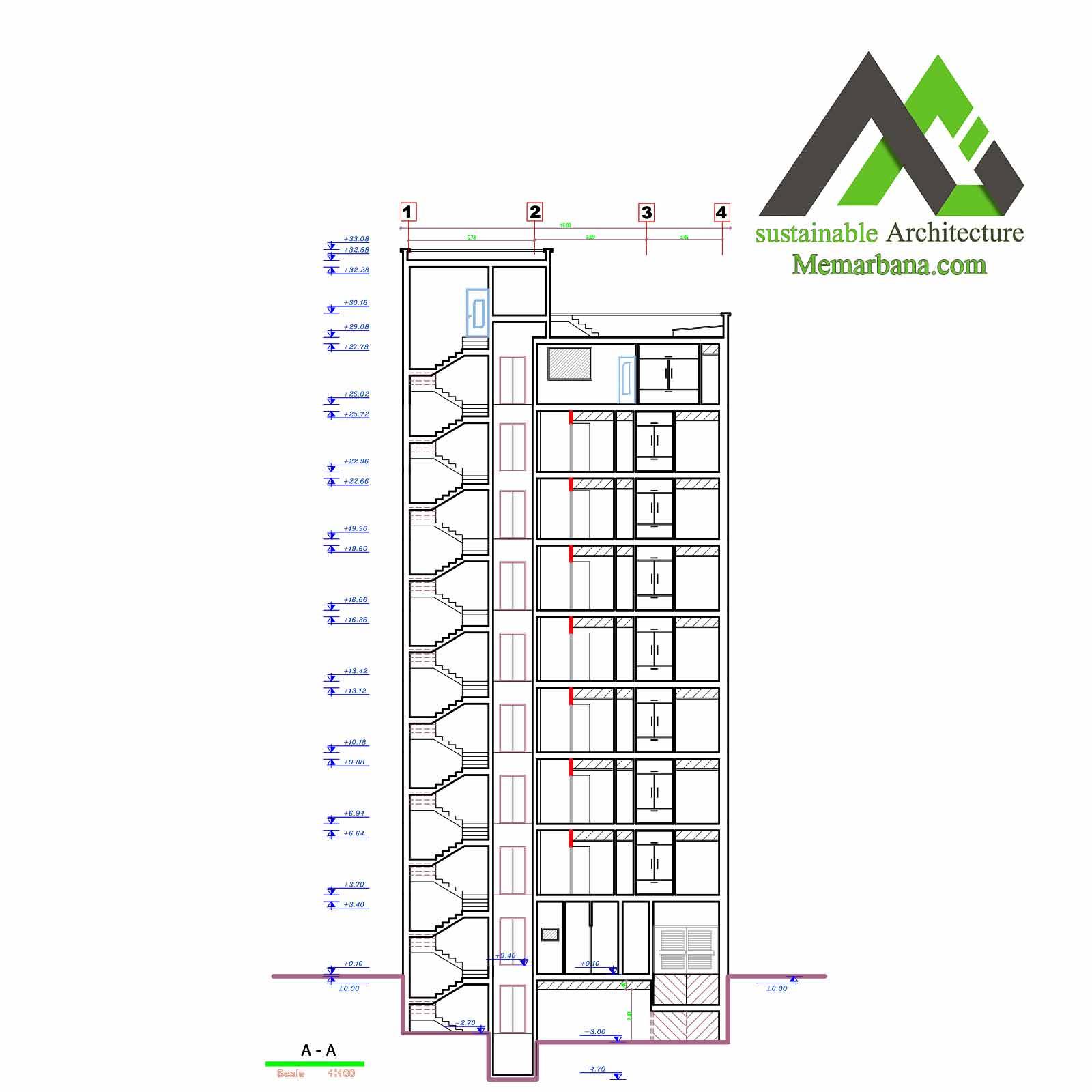 نقشه اجرایی مسکونی با عرض15