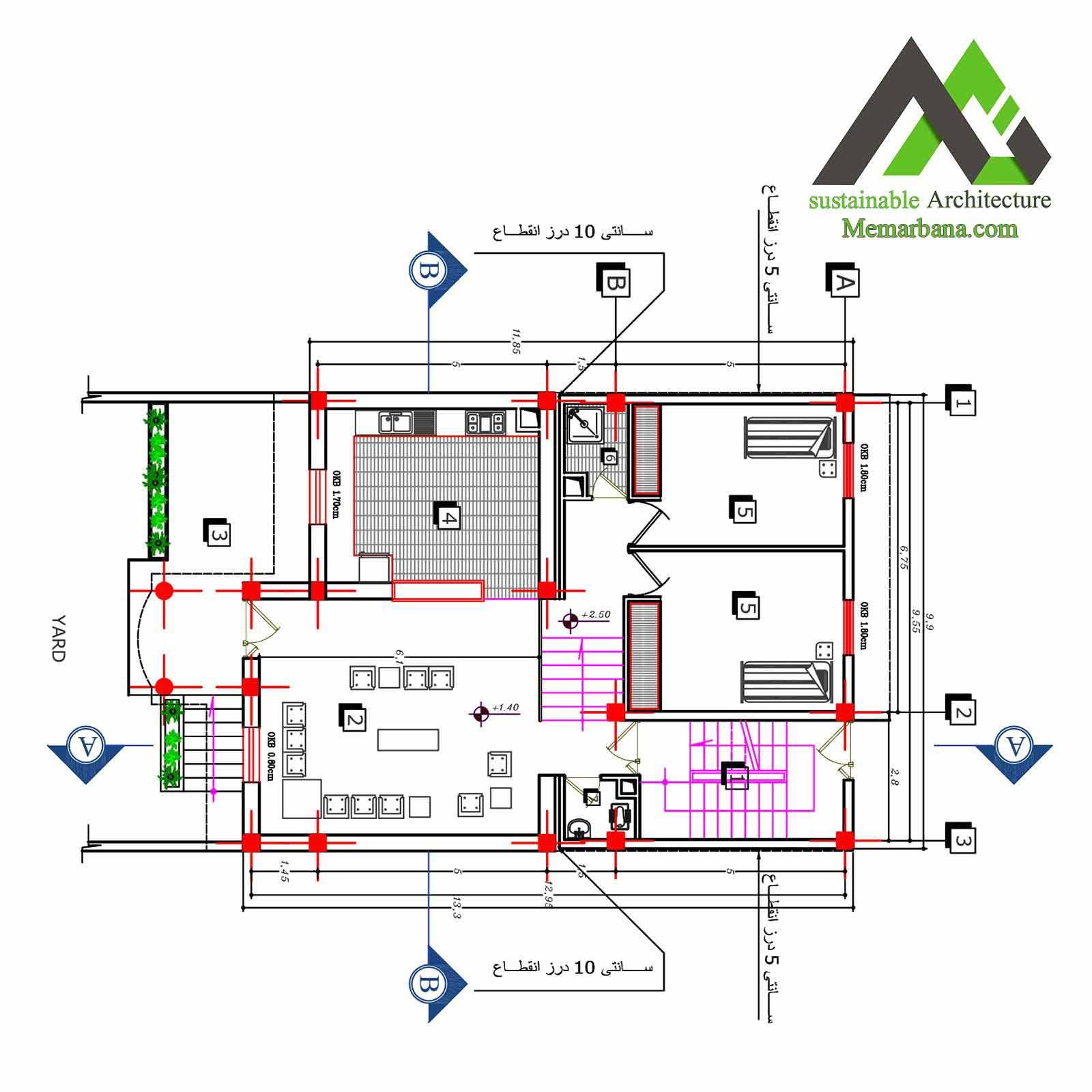 نقشه منزل مسکونی دوبلکس یک طبقه