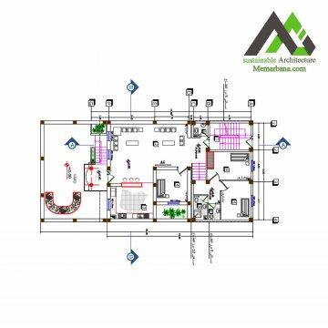 نقشه ساختمان مسکونی یک طبقه