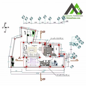 نقشه منزل مسکونی یک طبقه