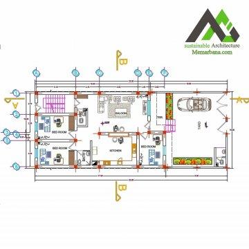 نقشه خانه مسکونی یک طبقه