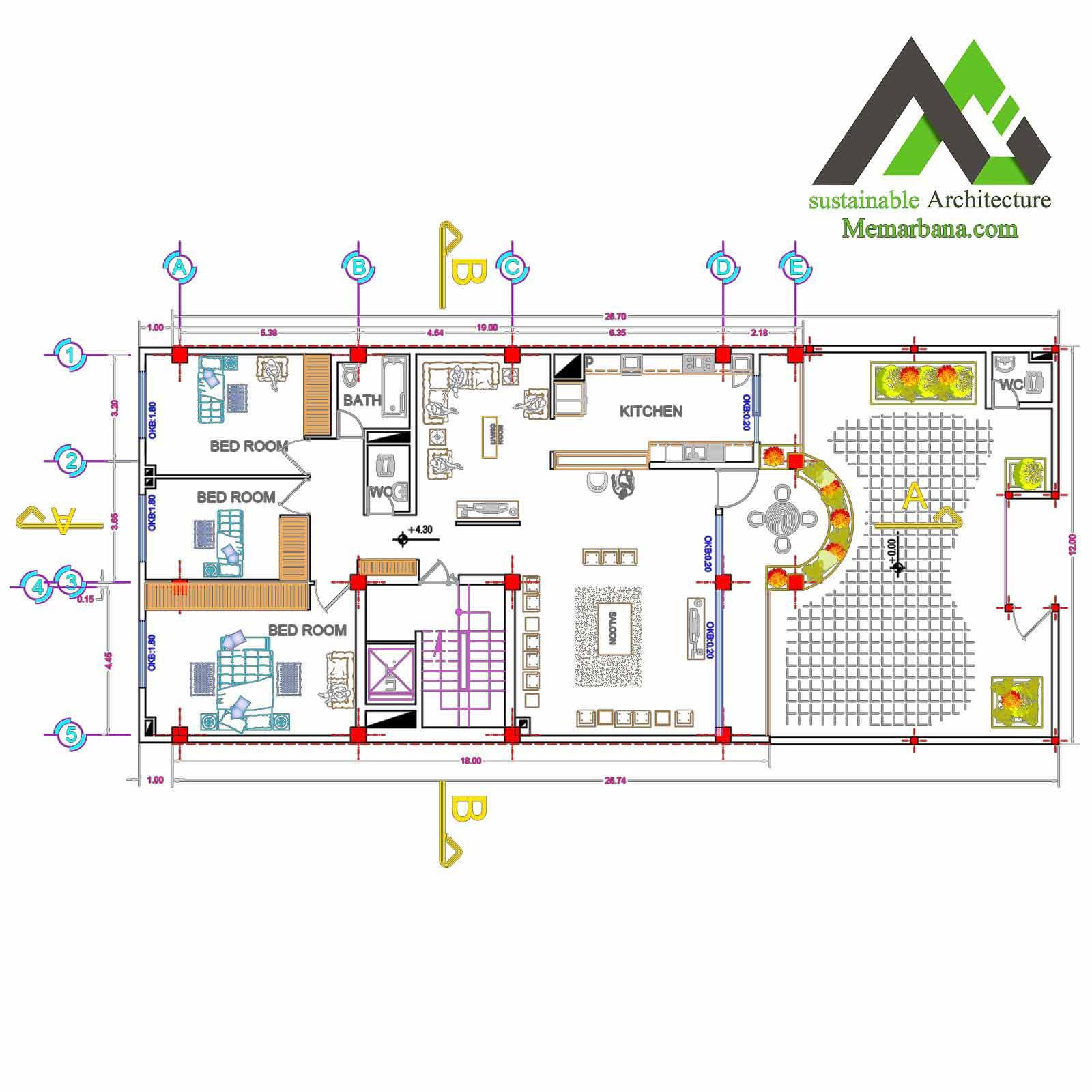 نقشه ی اجرایی مسکونی عرض 12