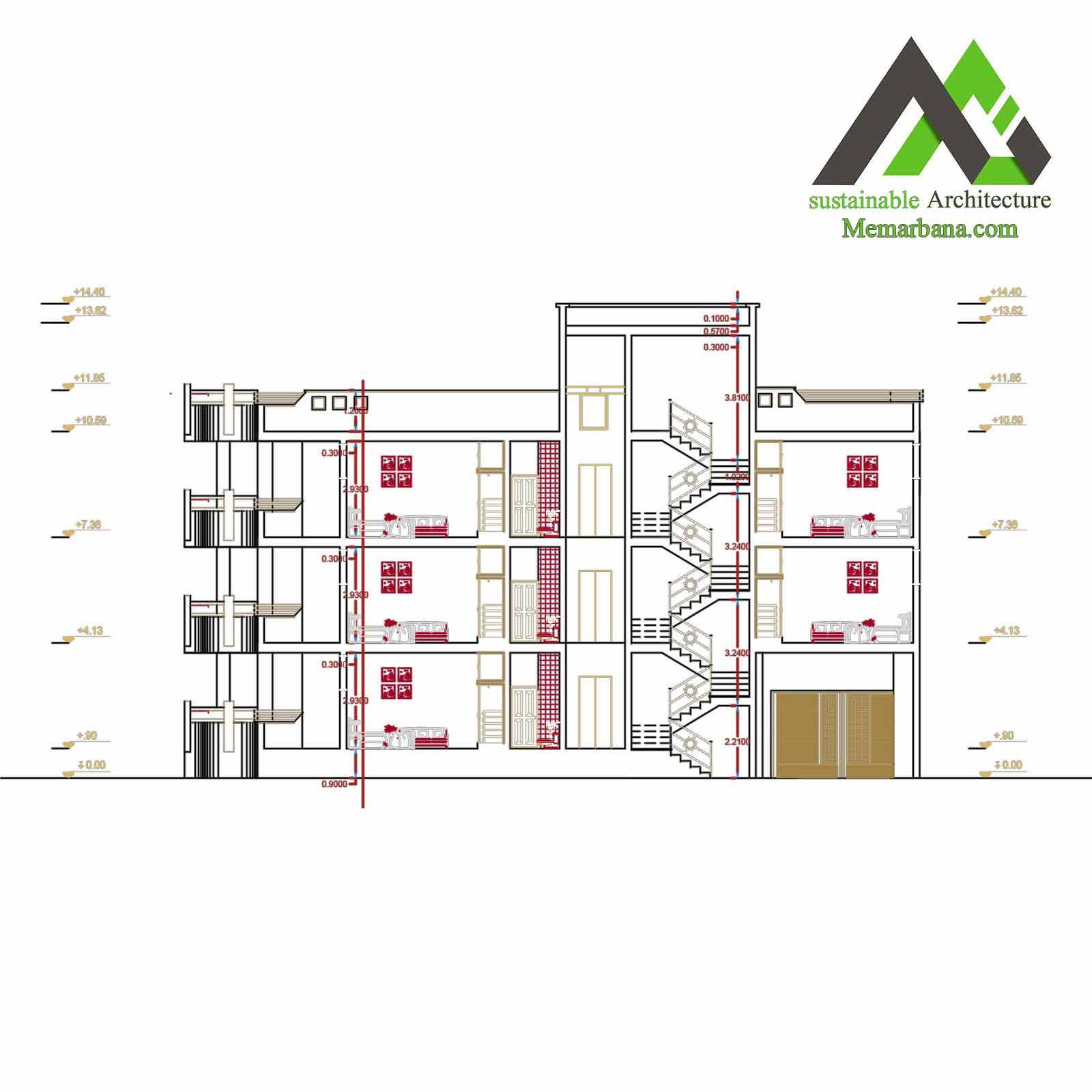 نقشه اجرایی آپارتمان با عرض 10