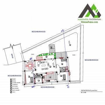 نقشه منزل مسکونی دو طبقه