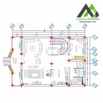 نقشه مسکونی دو طبقه