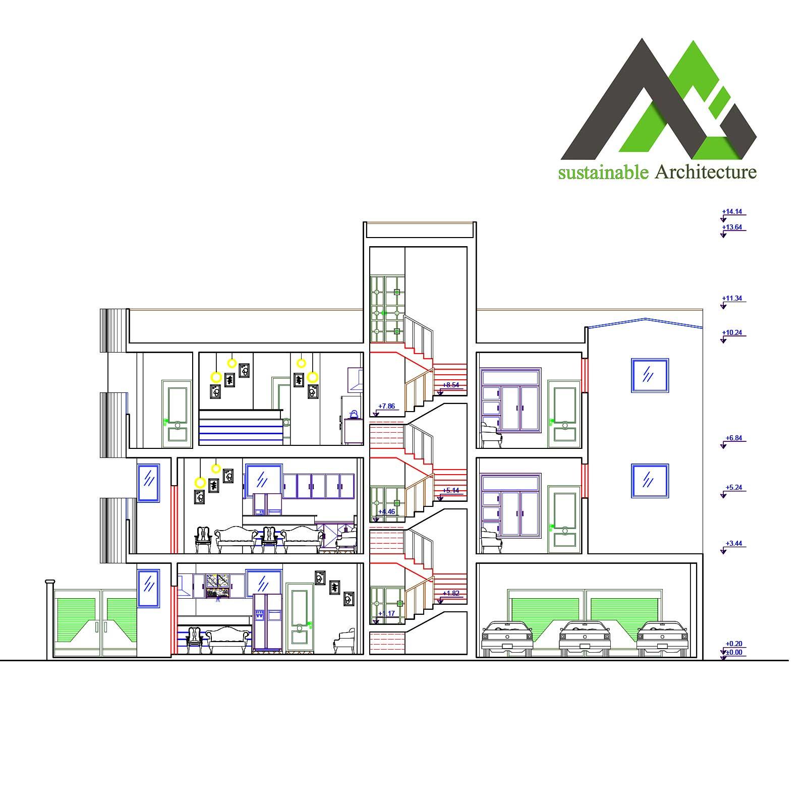پلان اجرایی آپارتمان مسکونی عرض 12.55
