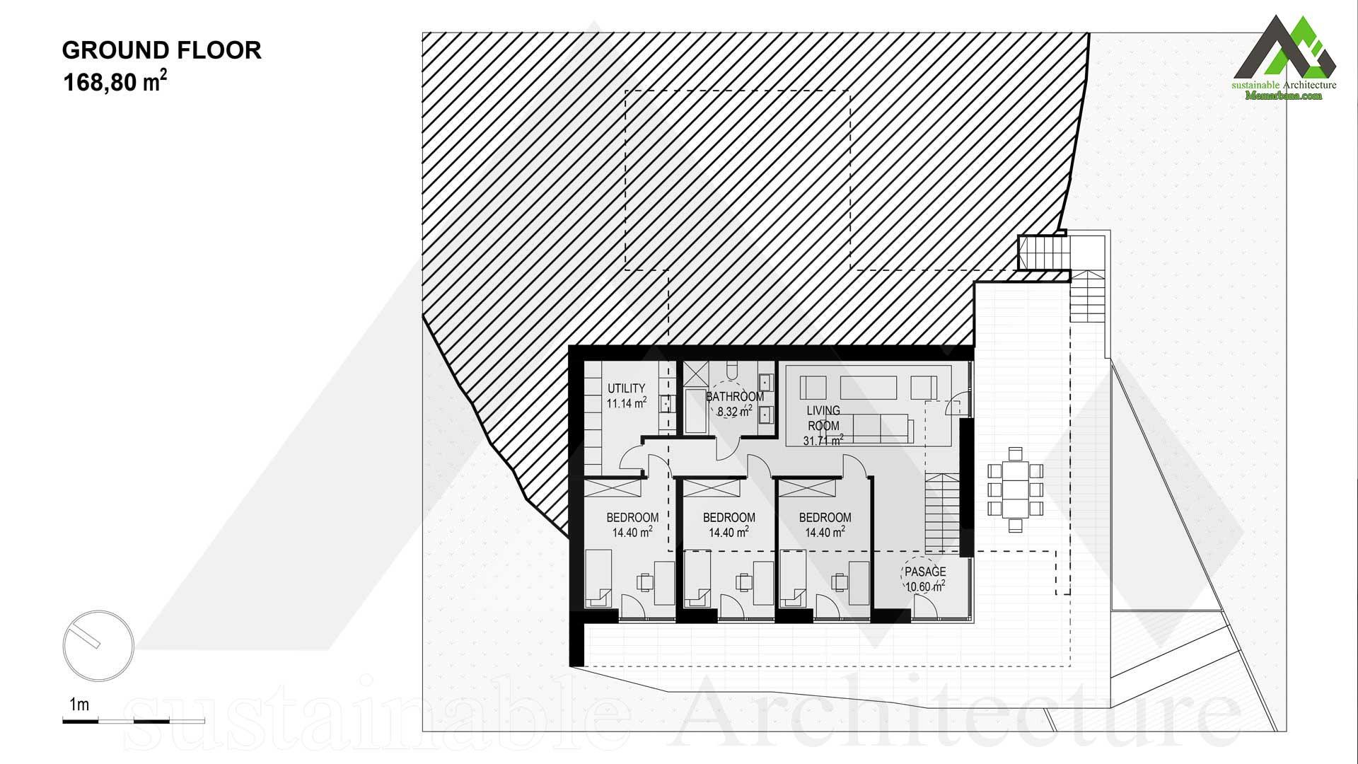 نقشه ویلا دو طبقه مدرن