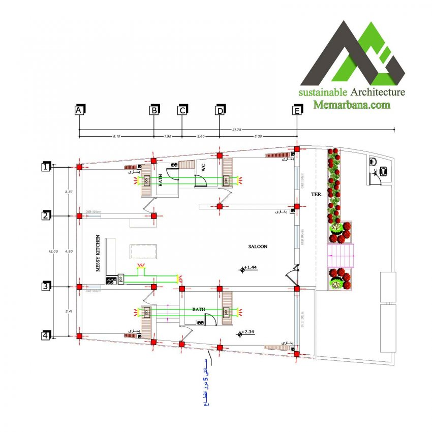 نقشه منزل مسکونی عرض 12