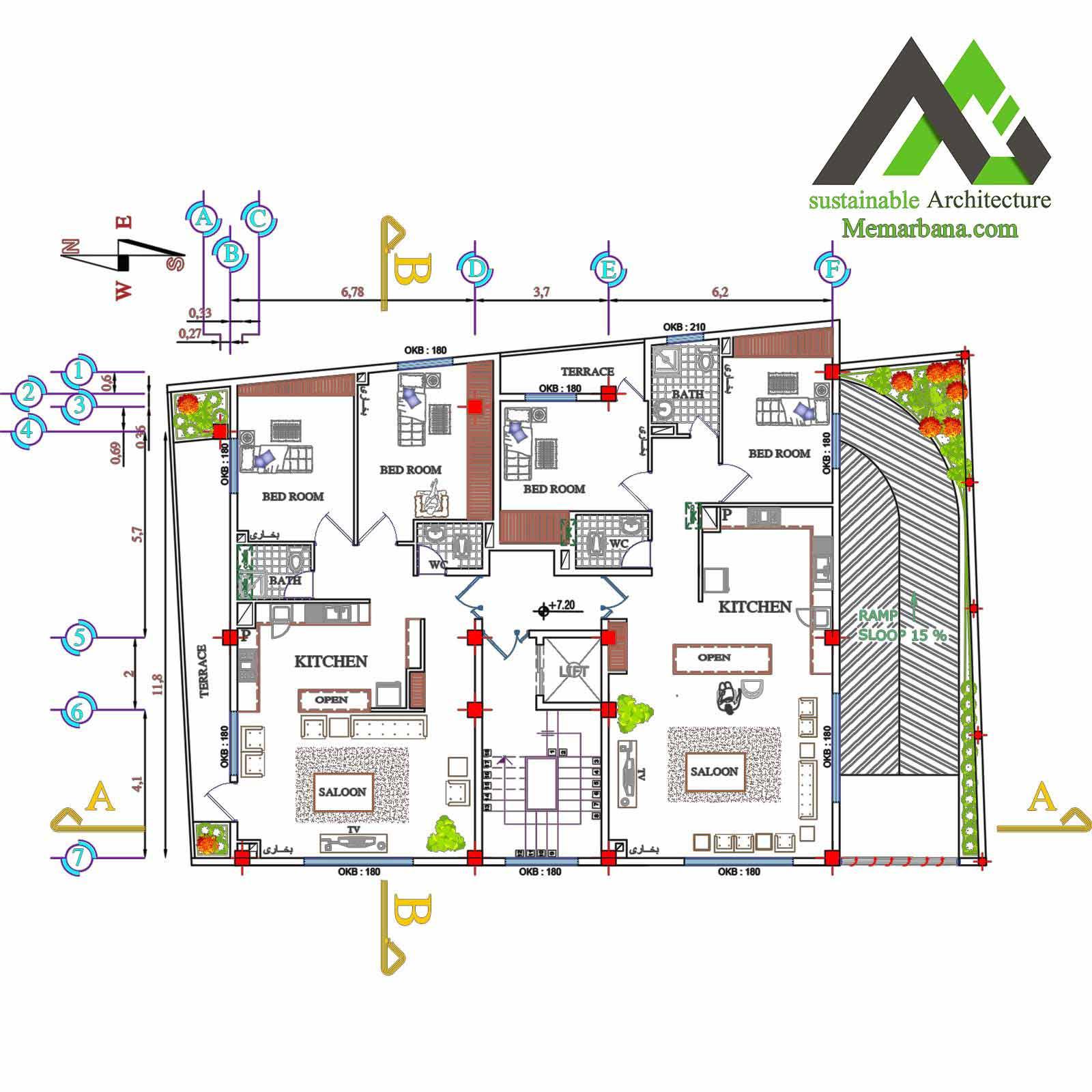 طراحی نقشه اجرایی با عرض 12*18