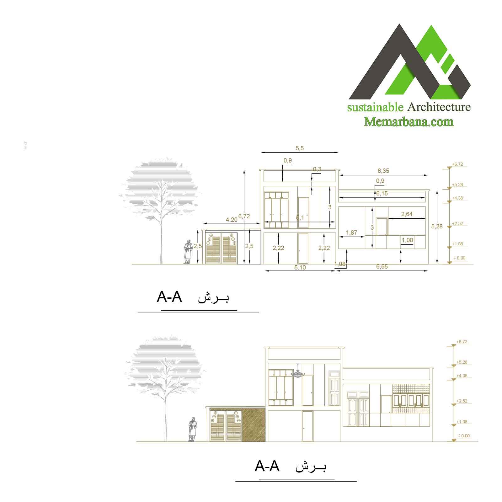 پلان اجرایی مسکونی دوبلکس