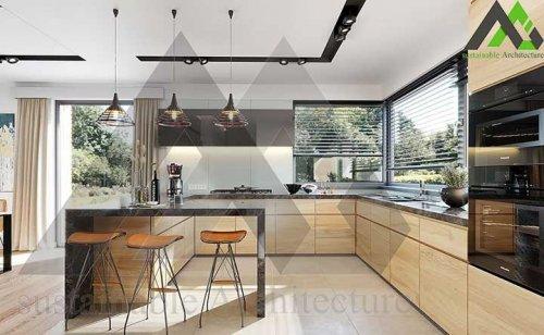 طراحی خانه یک طبقه با سقف شیروانی