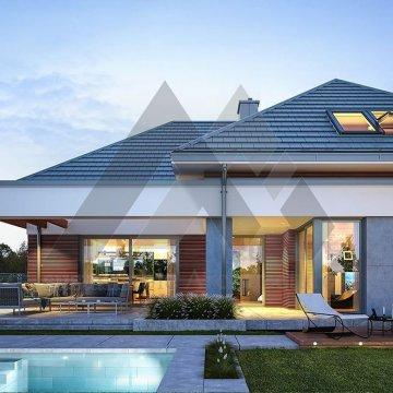 ویلا دو طبقه با سقف شیروانی