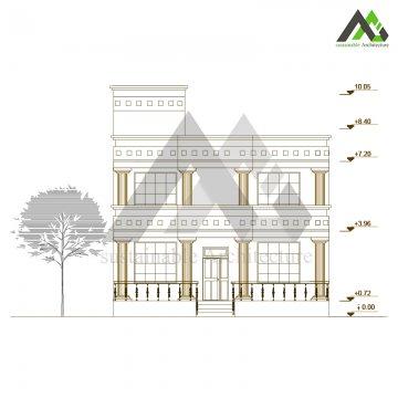 طراحی پلان مسکونی با نما کلاسیک