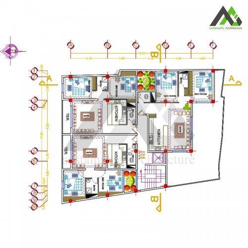 طراحی پلان آپارتمان کلاسیک