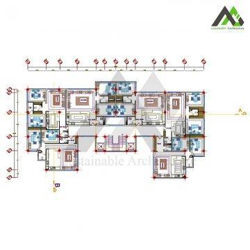طراحی پلان آپارتمان مسکونی 21 واحدی