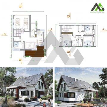 طراحی پلان ویلایی با سقف شیبدار