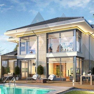 طراحی ویلا دوبلکس با سقف شیروانی