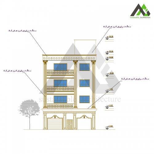 طراحی نما آپارتمان پنج طبقه