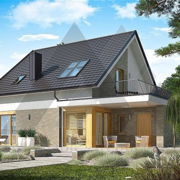 طراحی ویلا باغ با سقف شیروانی