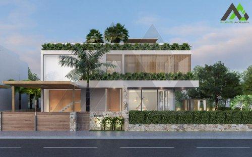 طراحی ویلا باغ دو طبقه مدرن